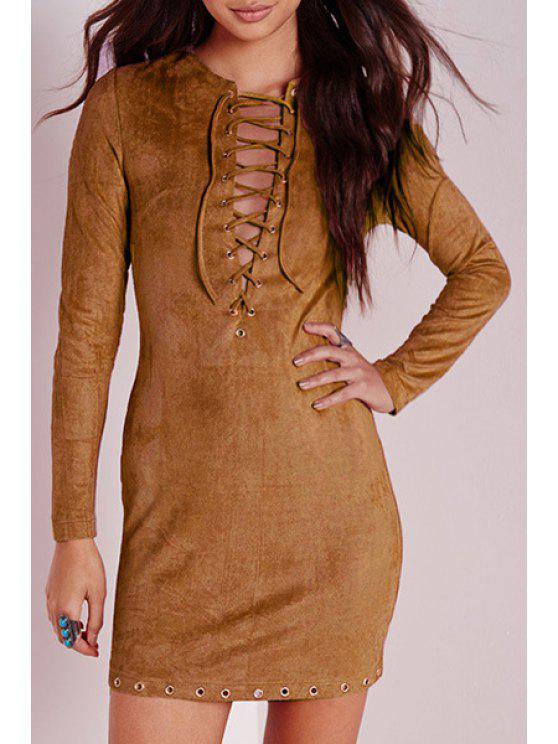 fancy Plunging Neck Long Sleeve Faux Suede Dress - KHAKI S