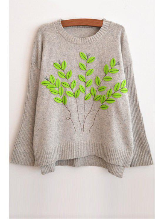 fancy Round Neck Leaf Pattern Sweater - GRAY ONE SIZE(FIT SIZE XS TO M)