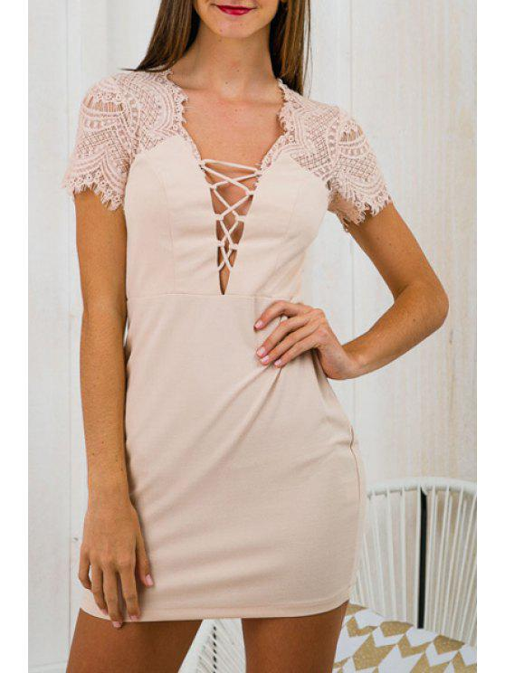 ladies Lace Spliced Plunging Neck Short Sleeves Dress - APRICOT S