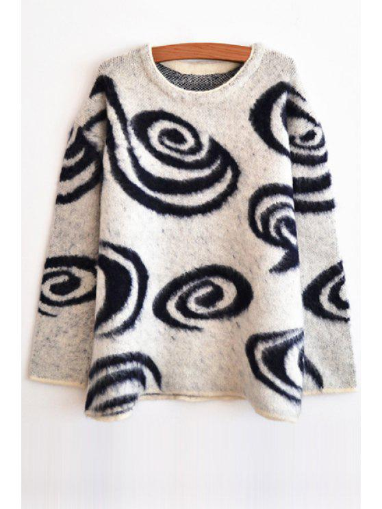 affordable Long Sleeve Spiral Pattern Sweater - WHITE ONE SIZE(FIT SIZE XS TO M)