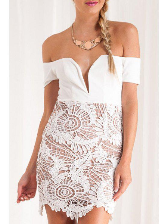 new Lace Spliced Off The Shoulder Bodycon Dress - WHITE S