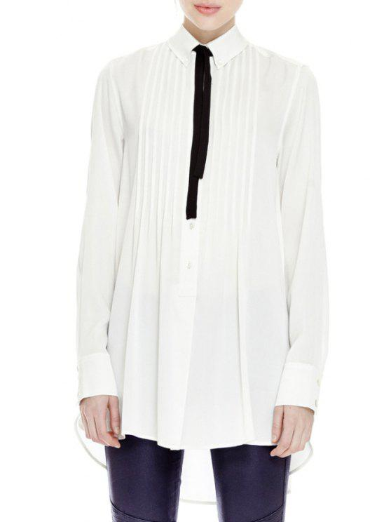 fashion Tie Solid Color Pleated Long Sleeves Shirt - WHITE XS
