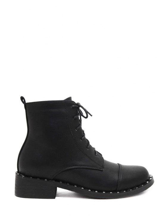 shop Solid Colour Lace-Up Round Toe Short Boots - BLACK 35