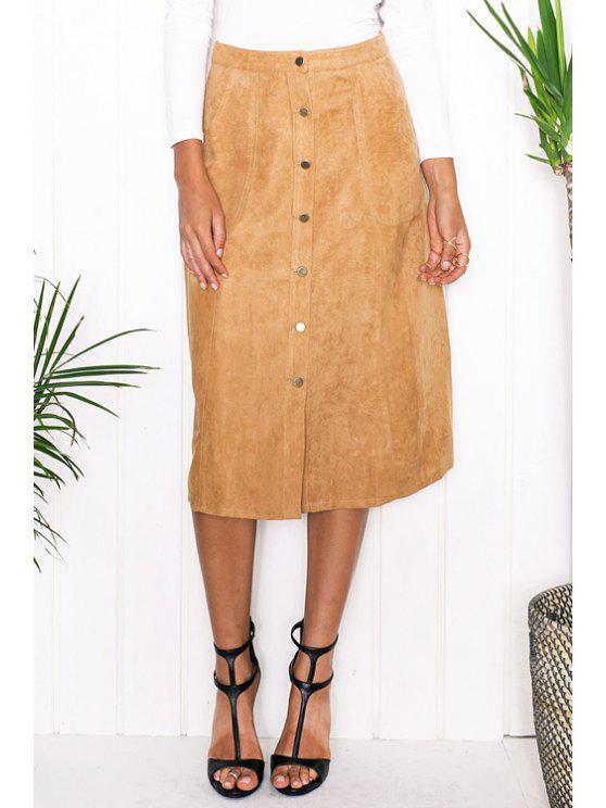 chic Faux Suede High Waist A Line Skirt - KHAKI S
