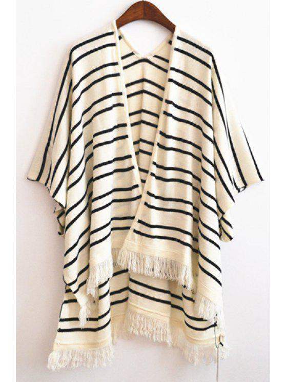 buy Striped Fringed Knit Cape - WHITE ONE SIZE(FIT SIZE XS TO M)