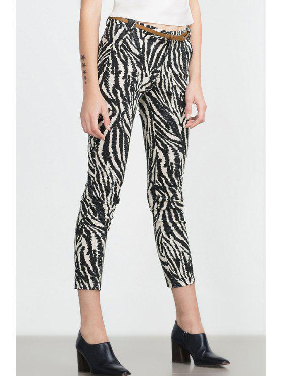 outfit Zebra Striped Print Slimming Narrow Feet Pants - WHITE AND BLACK S