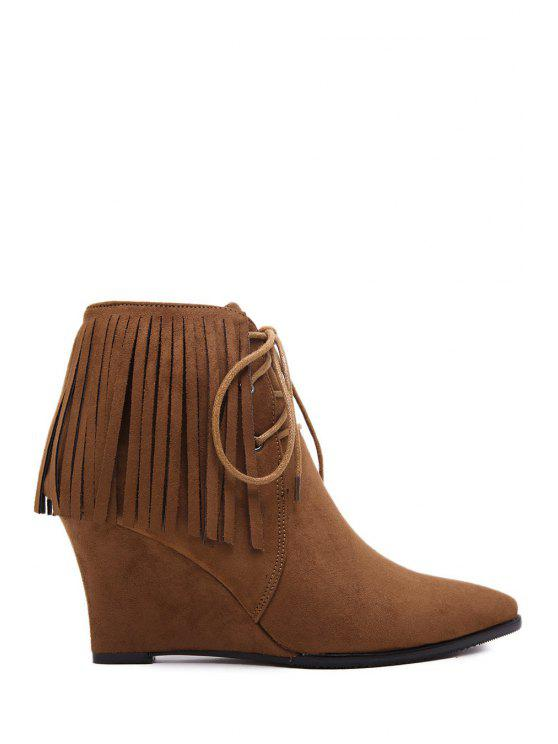 outfits Fringe Suede Wedge Heel Short Boots - BROWN 35
