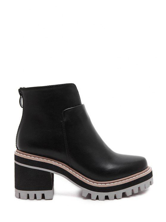 womens Platform Black Chunky Heel Short Boots - BLACK 37
