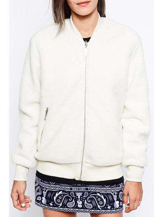 outfit Fluff Baseball Stand Collar Solid Color Jacket - WHITE XS