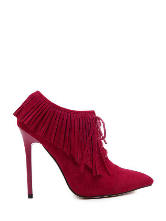 outfits Fringe Pointed Toe Stiletto Heel Ankle Boots - RED 35