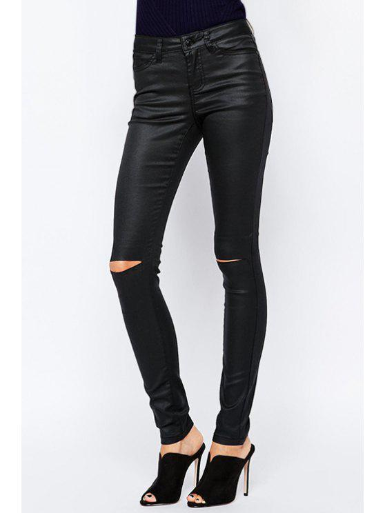 buy Solid Color High Waisted Casual Ripped Pants - BLACK S