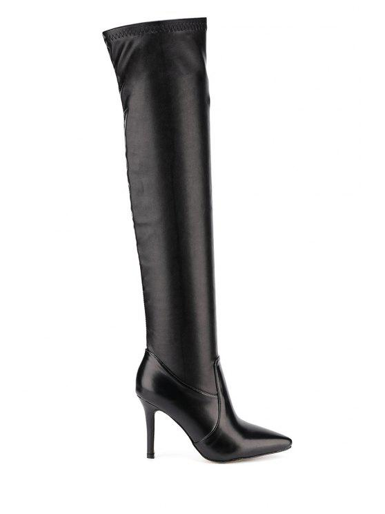 trendy Pointed Toe Black Thigh High Boots - BLACK 35
