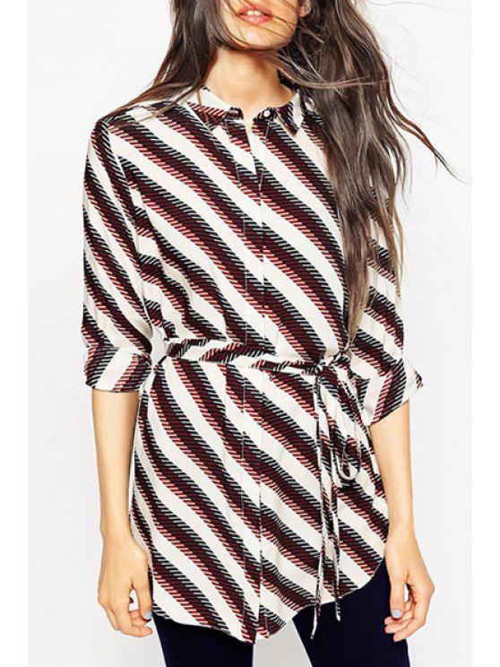 ladies Striped Waisted Flat Collar Long Sleeves Shirt - COLORMIX XS