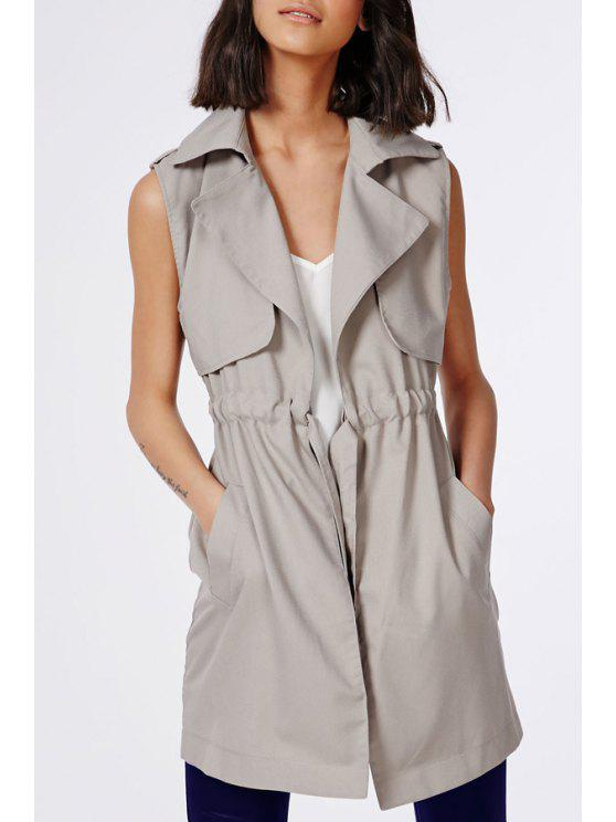 outfit Solid Color Waisted Sleeveless Trench Coat - KHAKI 2XL