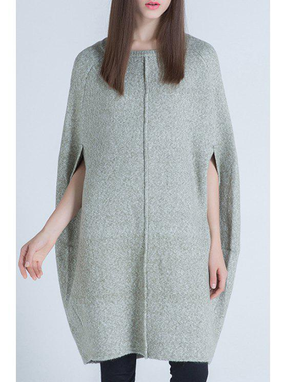 online Solid Color Batwing Sleeves Knitted Cape Sweater - GREEN ONE SIZE(FIT SIZE XS TO M)