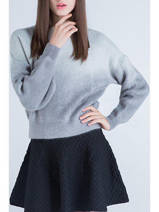 trendy Gradient ColorRound Collar Long Sleeves  Sweater - GRAY ONE SIZE(FIT SIZE XS TO M)