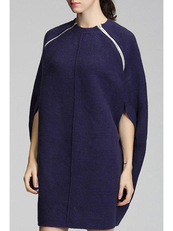 ladies Solid Color Pullover Round Collar Cape Sweater - CYAN ONE SIZE(FIT SIZE XS TO M)
