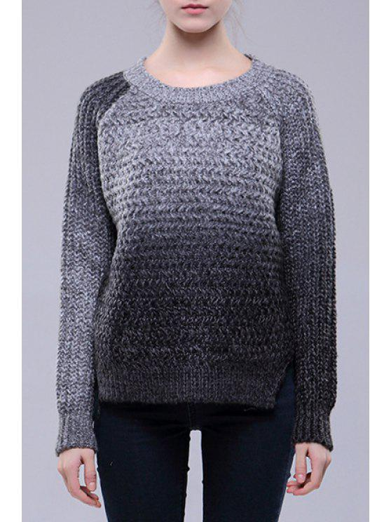 hot Gradient Color Long Sleeves Loose Fitting Sweater - GRAY ONE SIZE(FIT SIZE XS TO M)