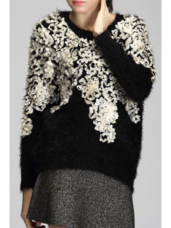 shop Jacquard Long Sleeves Loose Fitting Sweater - BLACK ONE SIZE(FIT SIZE XS TO M)