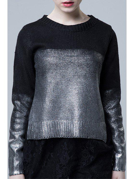 chic Painted Color Block Lace Spliced Sweater - SILVER ONE SIZE(FIT SIZE XS TO M)