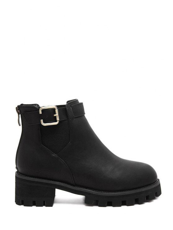 hot Pure Color Elastic Buckle Ankle Boots - BLACK 35