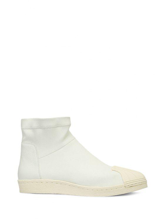 online Shell-Toe Stitching PU Leather Short Boots - WHITE 35