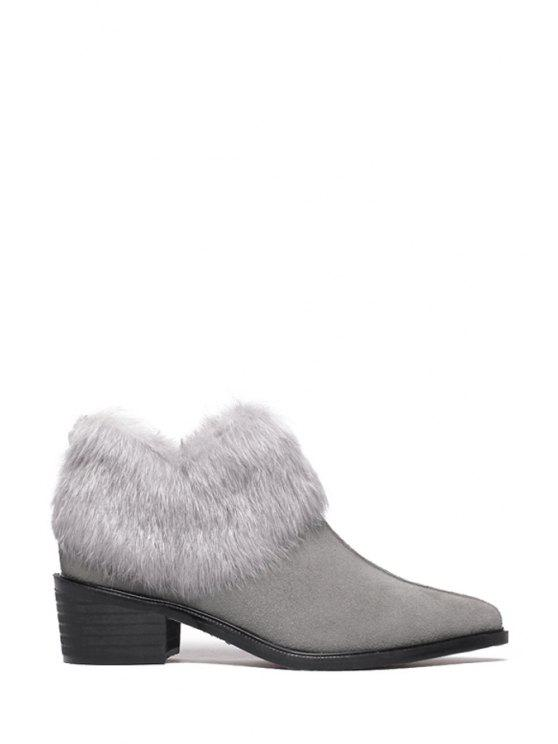 chic Faux Fur Pointed Toe Suede Ankle Boots - GRAY 35