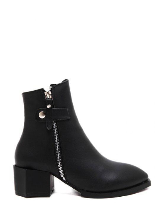outfit Strange Heel Zipper Black Short Boots - BLACK 35