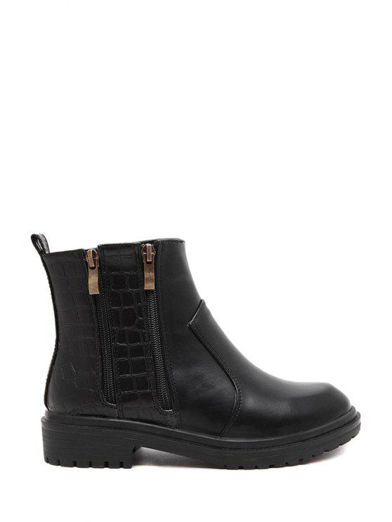 trendy Zippers Stone Pattern Black Short Boots - BLACK 35