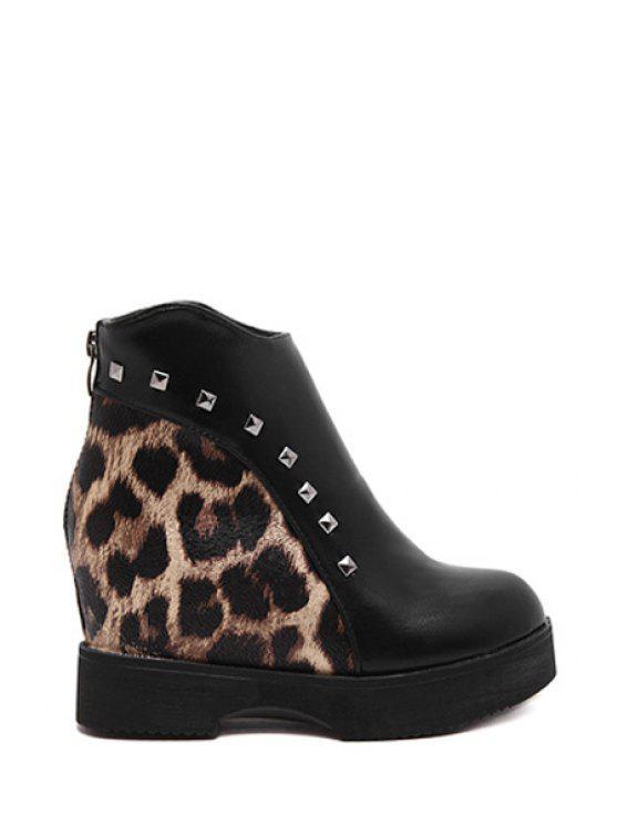 women Leopard Print Rivet Platform Short Boots - LEOPARD 35