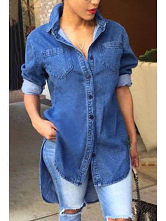 shop Single-Breasted Denim Shirt Dress - DEEP BLUE XL