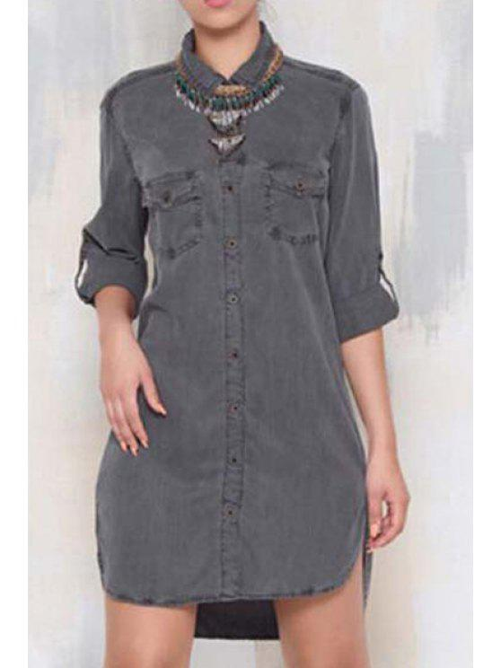 sale Single-Breasted Denim Shirt Dress - GRAY XL