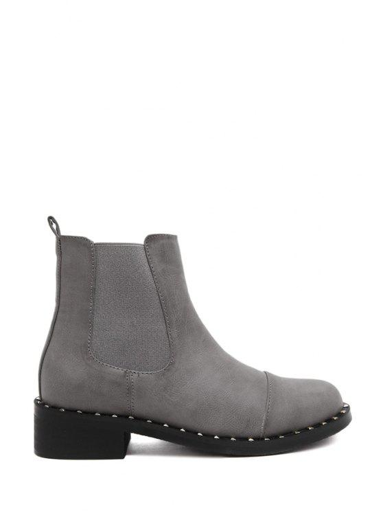 online Solid Color Elastic Round Toe Short Boots - GRAY 35