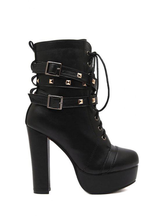 chic Black Rivet Platform High Heel Boots - BLACK 34