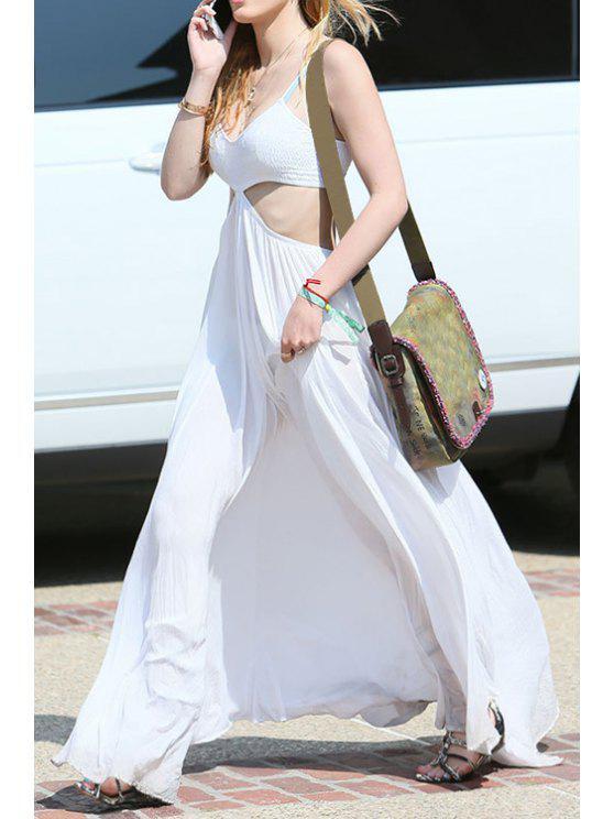 outfit Spaghetti Strap Cut Out Beach Dress - WHITE S