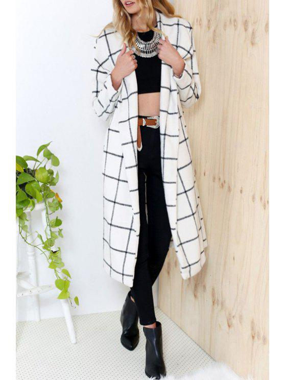 outfit Long Sleeve Plaid Worsted Coat - WHITE S