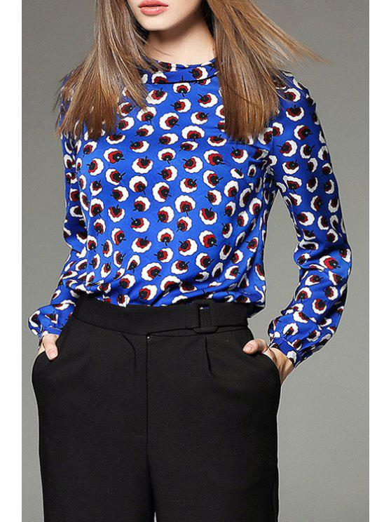 shop Flower Print Turn Down Collar Blouse - BLUE S