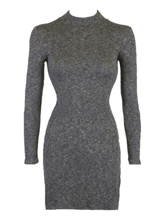 buy Stand Neck Side Slit Bodycon Dress - DEEP GRAY S