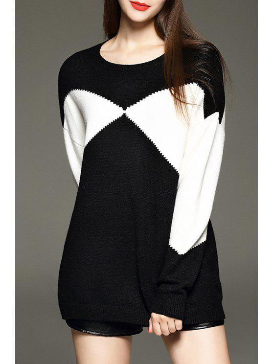 chic Black White Long Sleeve Jumper - WHITE AND BLACK S