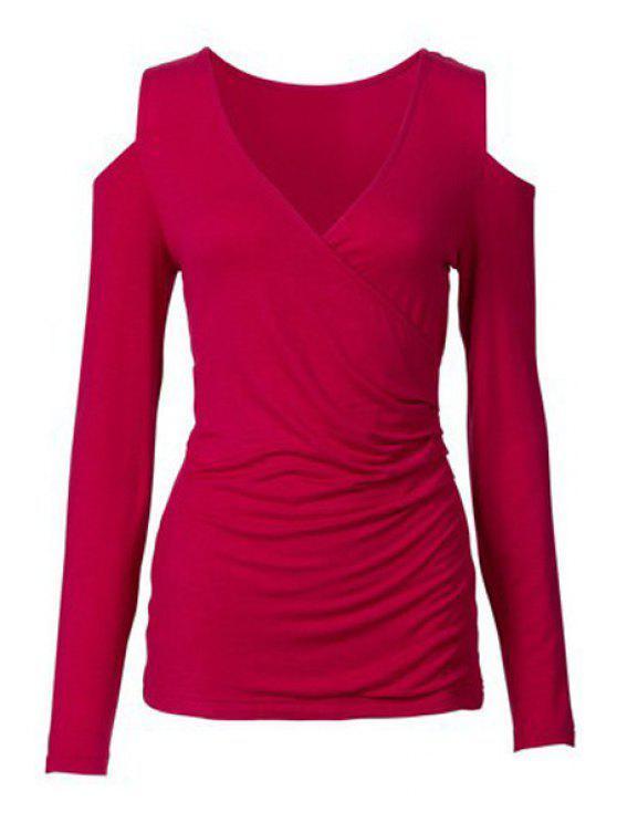 T-shirt à manches longues à manches courtes - Rouge XL