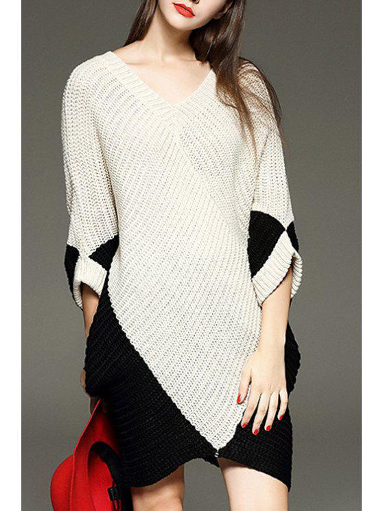shop Color Block V Neck 3/4 Sleeve Sweater Dress - OFF-WHITE ONE SIZE(FIT SIZE XS TO M)