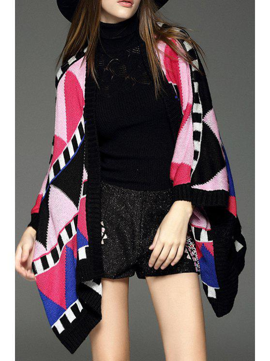 new Geometric Pattern Collarless Cape Cardigan - RED WITH BLACK S