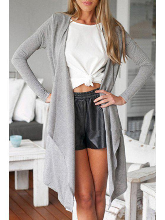 unique Open Front Gray Thin Coat - GRAY S