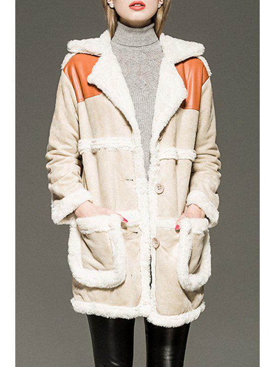 sale Faux Fur Spliced Lapel Long Sleeve Coat - CAMEL S