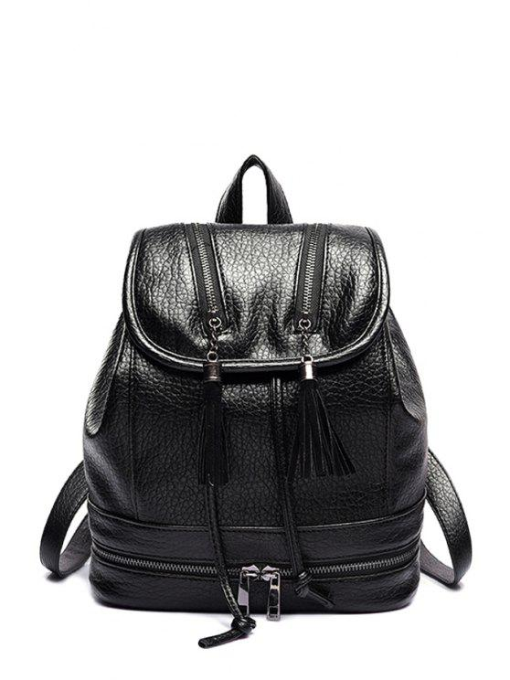 new Tassel Embossing Cover Satchel - BLACK