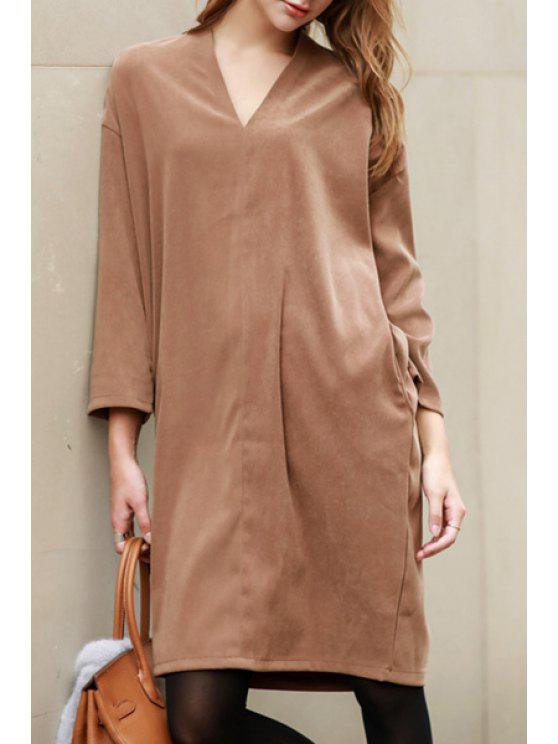 shops 3/4 Sleeve Solid Color Straight Dress - LIGHT BROWN ONE SIZE(FIT SIZE XS TO M)