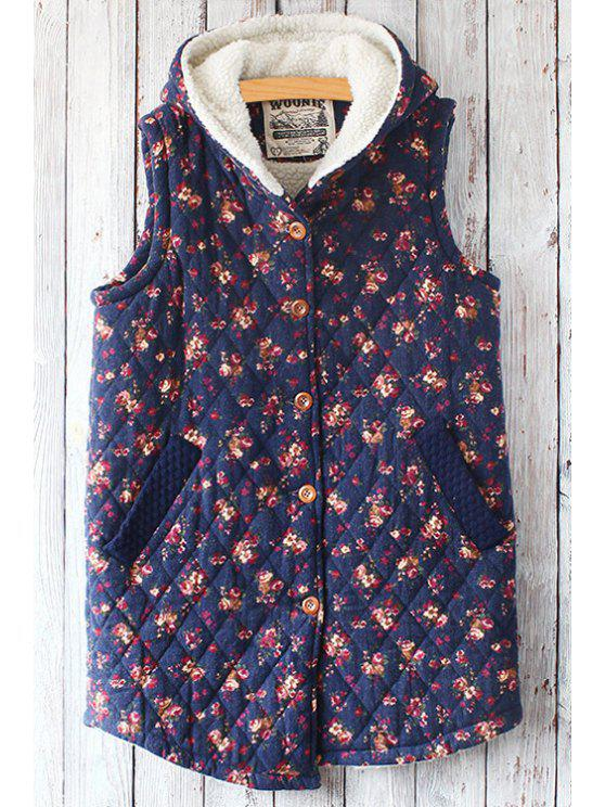 hot Blue Tiny Floral Hooded Waistcoat - BLUE ONE SIZE(FIT SIZE XS TO M)