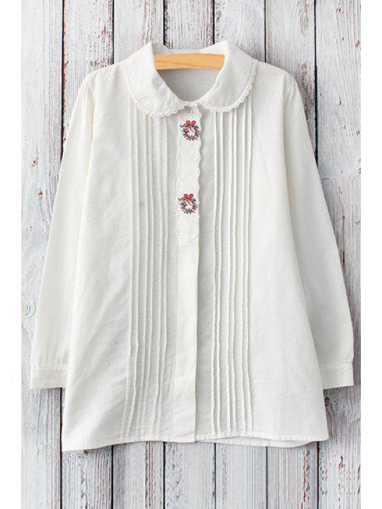 fashion Lace Spliced Peter Pan Collar Long Sleeve Shirt - WHITE ONE SIZE(FIT SIZE XS TO M)
