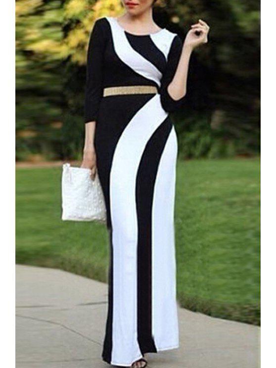 e95032eae691 25% OFF  2019 3 4 Sleeve Color Block Maxi Dress In BLACK