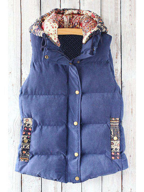 outfits Print Spliced Hooded Waistcoat - BLUE ONE SIZE(FIT SIZE XS TO M)
